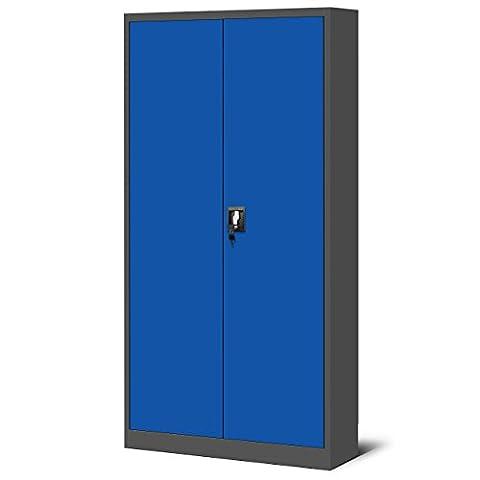 Aktenschrank Metallschrank Stahlschrank Stahlblech Werkzeugschrank Büroschrank Schrank Universalschrank Flügeltürschrank 195 cm (anthrazit/blau)