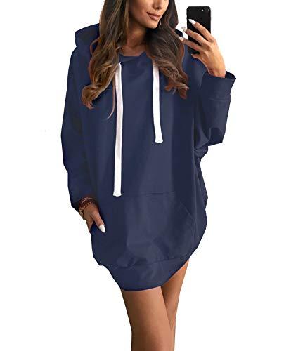 MYSHOW Damen Oversize Pulloverkleid mit Tunnelzug Taschen Plus Size Sweatshirtkleid Hoodiekleid Blau XL