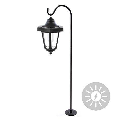 Solar Gartenlaterne Solarleuchte mit 1 LED weiß Solarlampe hängend Stab 14 x 14 x 22 cm Lampe Gartenbeleuchtung schwarz Garten Terrasse Balkon
