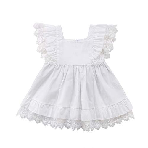 Frashing Sommer-Kleinkind-Säuglingsbaby-Mädchen-Fliegenhülsen-Spitze-Normallack-Kleid Spitzenärmel Spitzenrock Solide Urlaubsstil Kleid