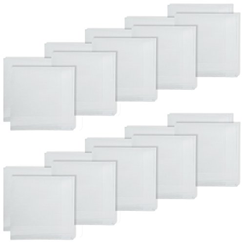 Weiße Damen Baumwolle Taschentücher (20 WEISSE DAMEN TASCHENTÜCHER + STOFFTASCHENTÜCHER + 100% BAUMWOLLE)