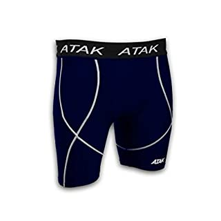 Atak Sports Men's Compression Shorts, Navy, Small