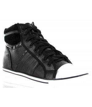 Chaussure Bas Prix - Baskets montantes, imitation cuir - R0503-1 Noir