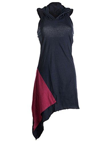 Vishes - Alternative Bekleidung - Asymmetrisches, Lagenlook Neckholder-, Zipfelkleid mit Kapuze schwarz-rot 42 -