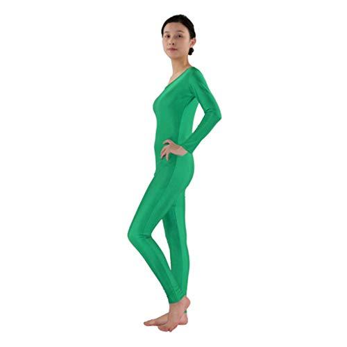 Grün Kostüm Skin Suit - Fenteer Herren Damen Ganzkörperanzug Lange Ärmel Bodysuit Catsuit Dancewear Atmungsaktive Second Skin Suit Zentai Catsuit Kostüm - Grün, L