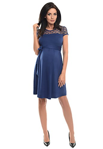 Purpless Maternity Short Sleeved A-Line Pregnancy Dress with Polka Dot Lace Panel D004 Test