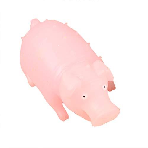 Ruby569y April Fool's Day Strank lustiges Spielzeug, Cartoon-Schreiendes Schwein, LED-Beleuchtung, Kinderspielzeug, Stressabbau, Geschenk Rose