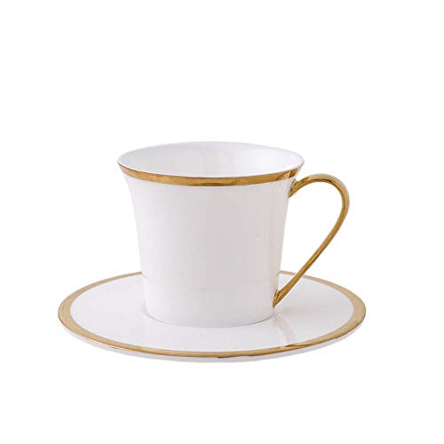 old Rim Tea Cup Ceramic Bulk Coffee Cups and Saucers Sets,White ()
