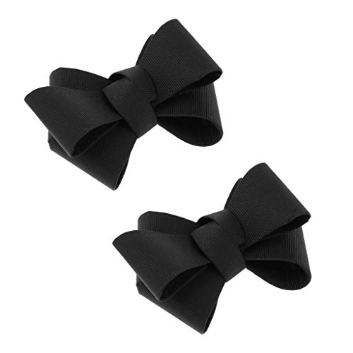 Hellery 2pcs Fabric Bowknot Shoe Charms Schnalle Travel Dating Abnehmbare Schuhclip - Schwarz
