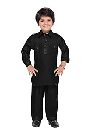 AJ Dezines Boys Pathani Suit for Kids (1201_BLACK_1)