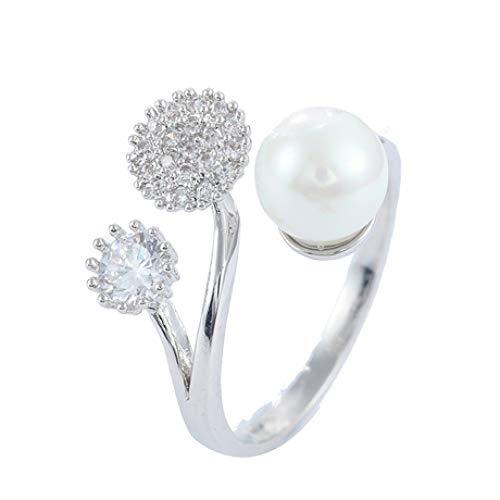 WHX DamenRingeEdelstahl,Frauen-Diamant-Perlenring-Gold überzogener offener Ring für Geschenkgelegenheite