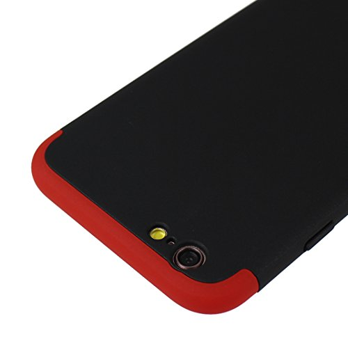 Handyhülle iPhone 6 Hardcase, Handyhülle iPhone 6S Hardcase, iPhone 6S 3 in 1 Hülle, iPhone 6 3 in 1 Hülle, Moon mood® 3 in 1 Anti-Fingerprint Kratzfeste Kunststoff Harte Rückseite Case Bumper Schutzh T Rot und Schwarz