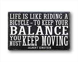 Ca565urs Holzkastenschild, Fahrradschild, Fahrrad-Zitat, Fahrradkunst, Life is Like Riding A Bicycle to Keep Your Balance You Must Keep Moving, Einstein - 30,5 x 50,8 cm