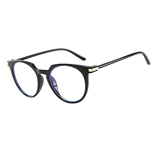 URIBAKY Sonnenbrille Mode Brille Vintage-Linse Geek Nerd Retro Style Metallrahmen Ovale- runde- klare