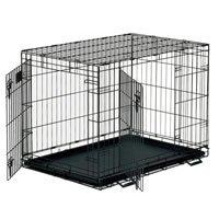 "Black/Brown Fold Flat Dog Crate MEDIUM (30"" x 21"" x 24""/76 x 53 x 61cm) (TP)(DOGCMED) from petbliss"