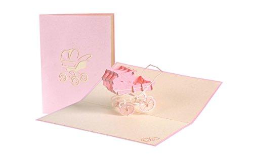 (Pop Up Karte mit rosa Kinderwagen aus Papier, Glueckwunschkarte zur Geburt von Maedchen, Baby Dusche G 13.3)
