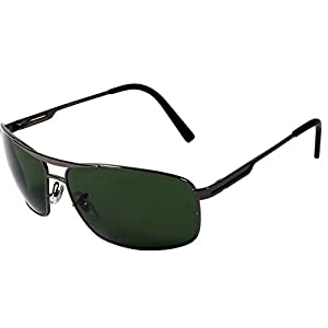 AISLIN® Non-Breakable Rectangular Sunglasses For Men (G-15 Green Lens)(AS-3516DH-2-GUN)