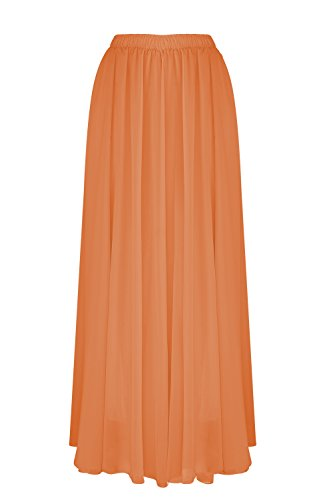 SUNNOW Korean Women Chiffon Boho Plissee Retro Maxi Langer Rock-elastischen Bund Tanz-Kleid (100CM, Orange Rot1)
