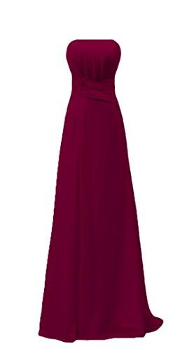 Bridal_Mall Damen ohne Aermel Falten Ballkleider Lang Chiffon mit Spitzen Applikation Abendkleider Partykleider Burgund
