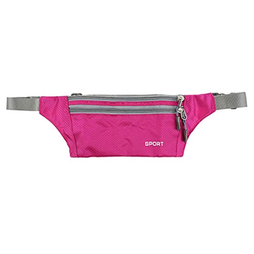 Imported Fanny Waist Belt Bag Sport Hip Travel Camping Hiking Zip Pocket Men Rose Red  available at amazon for Rs.210
