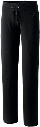 ERIMA Damen Basic Sweathose in Kurzgröße mit breitem Bund mit Kordelzug, aus weichem Baumwollmaterial, Schwarz, Gr. 40L