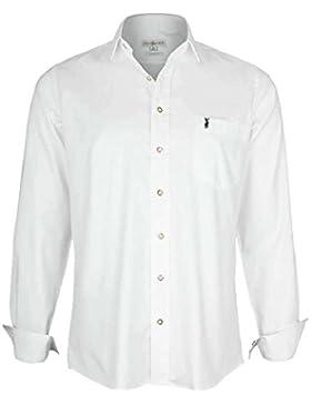 Almsach Herren Hemd Slim Fit Weiß mit Dezenter Hirschstickerei Tanne, Weiß/Tanne,