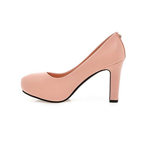VogueZone009 Damen Ziehen auf PU Leder Rund Zehe Hoher Absatz Rein Pumps Schuhe, Rot, 35