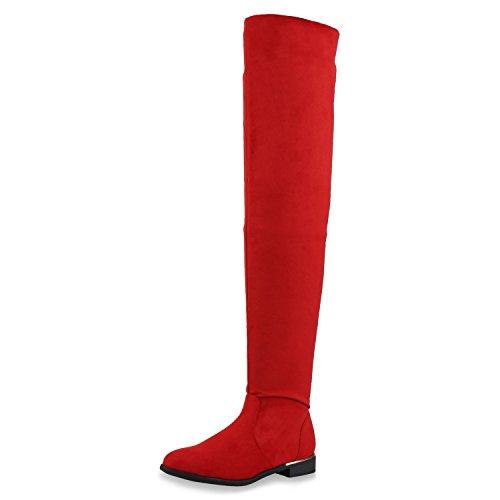 Kostüm Weiße Schnee - SCARPE VITA Gefütterte Damen Overknees Metallic Winter Stiefel Leder-Optik 151736 Rot Gefüttert 37