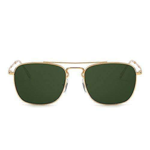 Retro Platz Flieger Sonnenbrille Premium Glas Linse Flach Metall Gläser Damen Herren(Gold/Grün)