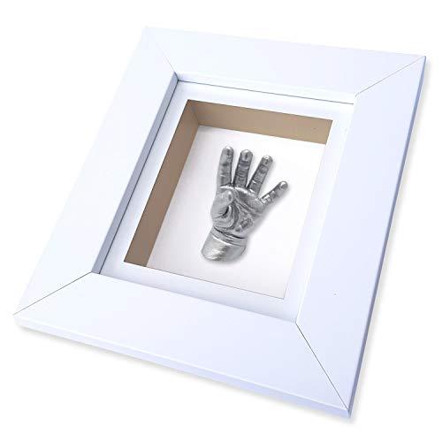 Baby Casts & Prints Baby und Kleinkind 3D Hand und Fuß Casting Kit mit Rahmen - 23,5cm x 21cm Weiß -