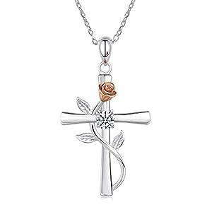 BlingGem Kette Damen 925 Sterling Silber mit Rundschliff Zirkonia Kreuz Rosen-Blume Anhänger Halskette Frauen Geschenk zum Muttertag,48 cm