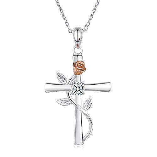 BlingGem Kette Damen 925 Sterling Silber mit Rundschliff Zirkonia Kreuz Rosen-Blume Anhänger Halskette Frauen Geschenk zum Valentinstag,48 cm