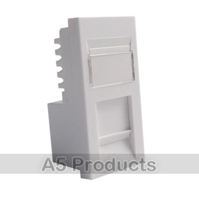 RJ45 Cat 6 Data Networking - Grid Outlet Module - White by (Faceplate Quad)
