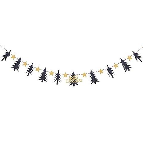 Tinksky DIY Frohe Weihnachten Banner Kiefer Stoff Bunting Girlanden Glitzer Stars Hanging Dekoration für Home Party 3M
