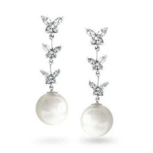 Bling Jewelry Bianco perla di Faux tono argento Triple CZ farfalla orecchini di goccia