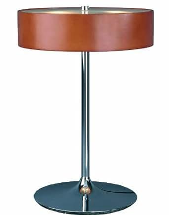 Aluminor MALIBU LT Lampe à Poser Métal Chromé/Verre/Bois Teinté Merisier
