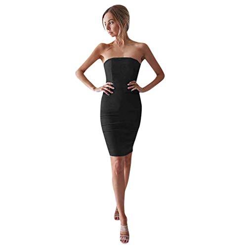 Damen kleiden Schlauchoberseite Sleeveless reizvolles Kleidkurzes Normallackart und weiseminikleid Bequemes minimalistisches Kleid aus Baumwolle (M, Schwarz)