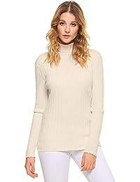 Aibrou Suéter de Manga Larga con Cuello Alto Punto Ligero elástico Suave sólido Abrigo de Cuello
