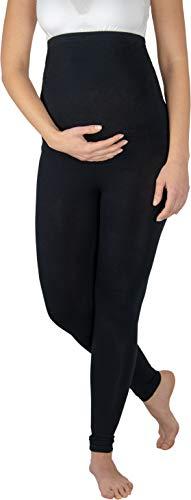 Evagreen Lange Umstandsleggings Leggings für Schwanger | Elastische Schwangerschaftsleggings | Sehr bequem für den Alltag | Umstandsmode Umstands-Leggins (L, Schwarz)