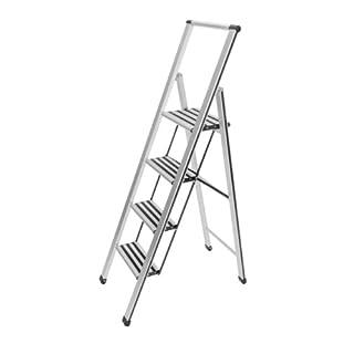Wenko 601013100 Alu-Design Klapptritt-/Haushaltsleiter, 4-stufig, Aluminium, 44 x 153 x 5,5 cm, silber matt