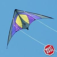 CIM Lenkdrachen - Shuriken MUSTHAVE - Kite für Kinder ab 8 Jahren - Abmessung: 120x60cm - inkl. Steuerleinen auf Rollen