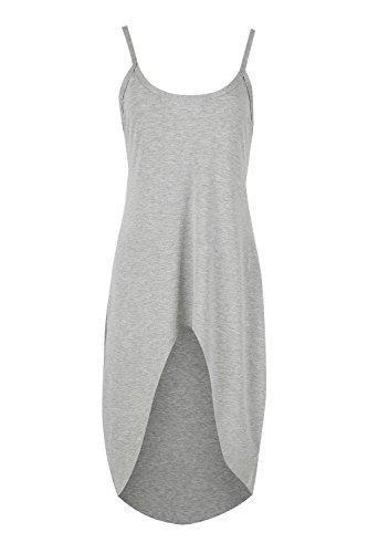 Damen Freizeit Party Riemchen Enganliegend Einfarbig Dehnbar Hoch Niedrig Unterhemd Mini Top Kleid Grau