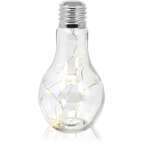 com-four® Deko Glas-Glühbirne mit 10 LEDs, batteriebetriebene LED Lampe, kabellose LED Deko Tisch-Leuchte, ca. 18,5 x 9 cm (01 Stück - Glühbirne)