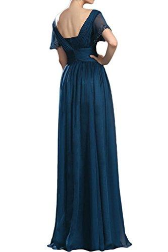 Ivydressing Damen Hochwertig Kurz Aermel steine A-Linie Chiffon Partykleid  Promkleid Festkleid Abendkleid Tintenblau ...
