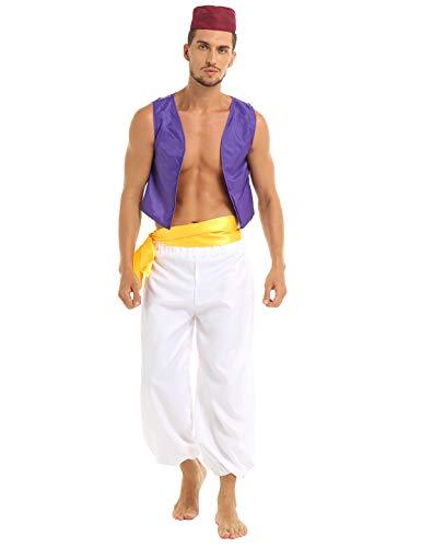 Erwachsene Für Prinz Arabischer Kostüm - inlzdz Erwachsene Kostüm Herren Arabischer Prinz Kostüm Set Wunderlampe Genie Märchen Cosplay Outfit Halloween Fasching Karneval Party Verkleidung Lila&Weiß Medium