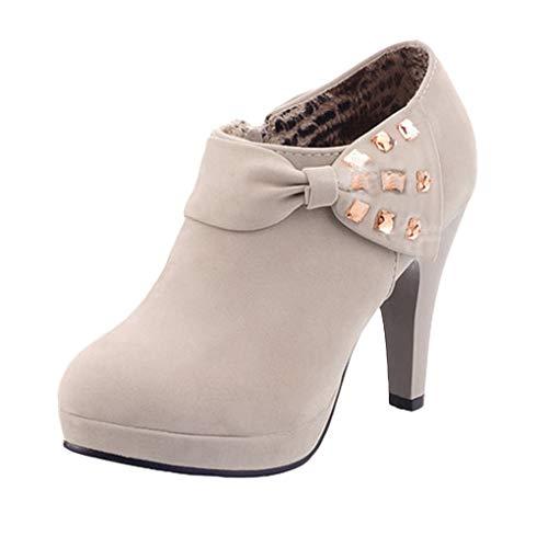 Minetom Mujer Botines Otoño Invierno Botas Del Bowknot Zapatos De Las Bombas Tacón Desnudo Delgado...