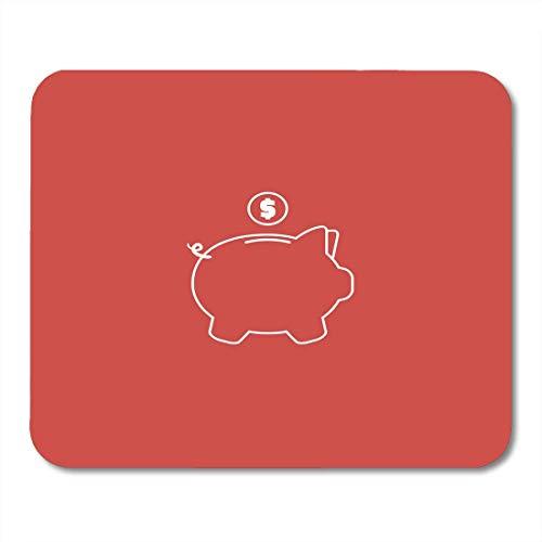 Luancrop Mauspads Banking Schwarz Konto Sparschwein Zeichen Design Rot Weiß Akkumulation Bloody Mouse Pad für Notebooks, Desktop-Computer Mauspads, Bürobedarf -