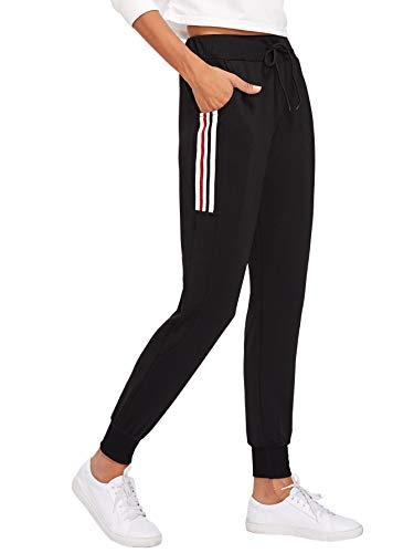 DIDK Damen Hosen Sporthose Casual Streifen Sweathose Elastischer Bund Jogginghose mit Taschen Schwarz#4 S