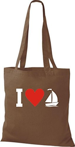 JUTA Borsa di stoffa I LOVE barca a vela, CAPITANO marrone medio