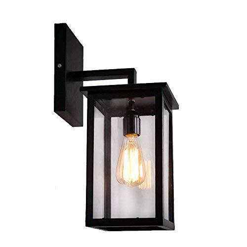 Vintage E27 Outdoor Wandleuchte Außenleuchte Schwarz Eisen Rahmen und Glas Schatten Wandlampe Innen Außen Wasserdichte Eckig Design Gartenlampe Wand-Beleuchtung,19 * 19 * 41CM - Eisen-wand-schatten